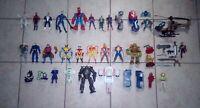 42 Pc Action Figure And vehicle Lot Marvel DC XMen Spiderman Custom Parts batman