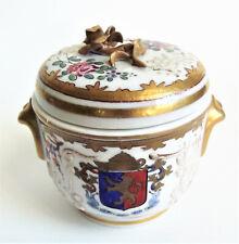 FRENCH Porcelain Painted Floral Rose Gold Enamel Vanity Dresser Jar Paris France