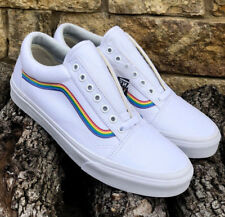 New! Vans Old Skool Pride Rainbow White Canvas Super Rare!!!! Men's Size 11.5