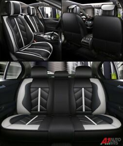 Sporty Grey Black PU Leather Full Set Seat Covers For Audi A4 A6 A8 Q7 Q5 S-Line