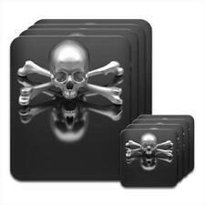 Chrome 3D Skull & Crossbones Coaster & Placemat Set
