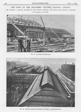 1906 4x Antique Engineering Prints-Roof Construction of Victoria Railway Station