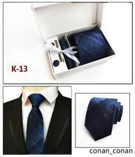 Tie Cufflinks Pocket Square Hanky Set Blue Black White Tie Wedding Silk