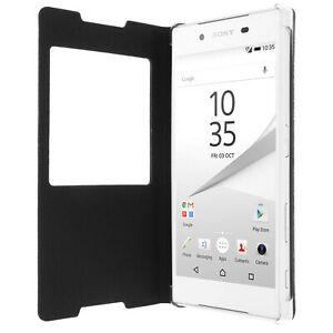 Smart view window flip case for Sony Xperia Z5, slim cover – Black
