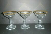 Set of  3  Vintage Moser Gold Encrusted Diplomate Tall Champagne Sherbet