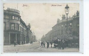 Printed postcard of Market street Bury  Lancashire  gc
