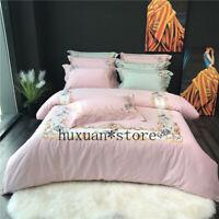 Luxury Egypt Cotton Bedding Set Embroidery Silky Duvet Cover Sheet Pillowcases