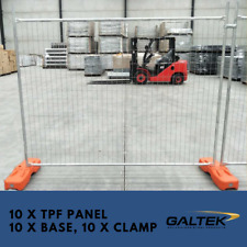 Construction Temporary Fencing - 10 x Galvanised Fence Panel with clamp and base