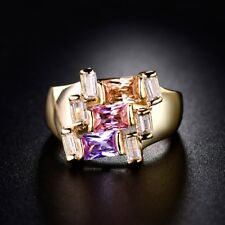 Multi-Color Cubic Zirconia Gemstone 24k Gold Filled CZ Wedding Rings Jewellery