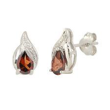 Diamond & Garnet Earrings (.01 cttw, I-J, I2) 925 Sterling Silver Oval Swirl