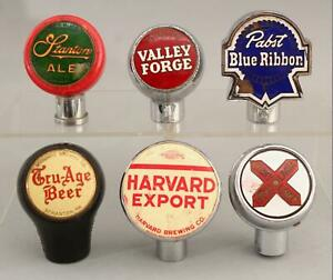 6 Vintage Antique Bartop Enamel Bakelite Beer Keg Bar Ale Tap Knob Handles NR