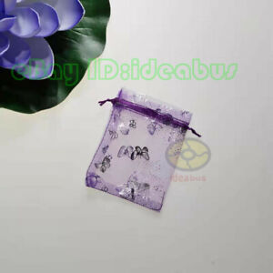 """25/50/100pcs Print Silver Butterfly Organza Pouches Jewelry Favor Bags4.75""""x3.5"""""""