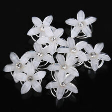 5Pcs Floral Crystal Hair Clips Twists Coils Flower Swirl Spiral Hair Accessories
