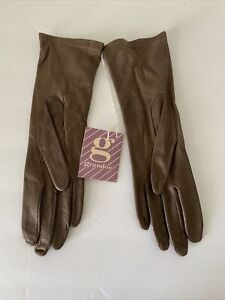 Grandoe Brown Leather Gloves - Size 7 1/5 Leather 100% Antron Nylon Lined