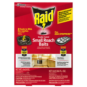 Raid Double Control 12-SMALL ROACH BAITS 3-STERILIZERS EGG STOPPERS COCKROACHES