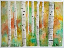"Original Birch trees Watercolor Painting 9""x 12"",signed"