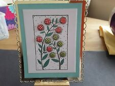 Handmade Hand Stamped Floral Card Topper, Candi, Any Occasion.
