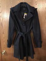 London Fog Womens Wool Blend Walker Coat Jacket Belted Hooded Medium,Charcoal