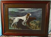"Print Unity Three Hunting Dogs Engraving Hand Colored Thomas Blinks 43""W x 33""H"