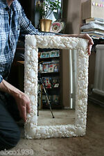 Rectangular  white natural seashell mirror