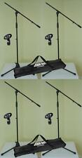 4 x Mikrofon-Stativ ECO mit Mikrofon-Klemme u. Tasche ADAM HALL Mikrofon-Ständer