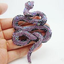 Classic purple crystal rhinestone snake Animals Art Deco style brooch pendant