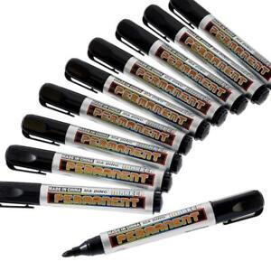 10 x Permanent Black Marker Pens Bullet Tip Pen Waterproof Quality Pen