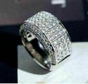 Breathtaking Engagement & Wedding Men's Band Ring 3.52 Ct Diamond 14K White Gold