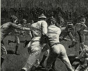Sports Football Scrimmage Tackle Game, Huge 1880s Antique Print Cropped