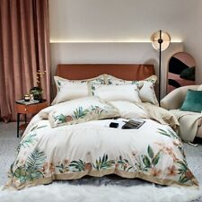 Luxurious French Egyptian Cotton Embroidery Duvet Cover Bed  Fitted Sheet 4pcs