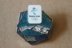 2022 Beijing 3D Mountains Glitter Olympic Large Pin