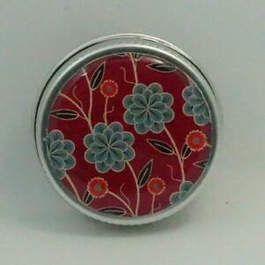 MINI 15ML ROUND DECORATIVE TIN MINTS LIP BALM EARRINGS RINGS FLORAL RED TEAL
