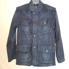 Zara Mens Size M Hooded Dark Wash Distressed Denim Jacket Hooded Button Up Zip