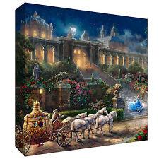 Beautiful Thomas Kinkade Clock Strikes Midnight Cinderella 2015 Disney Canvas