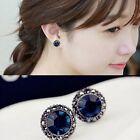 Fashion Women Girl Elegant Royal Blue Rhinestone Crystal Round Ear Stud Earrings
