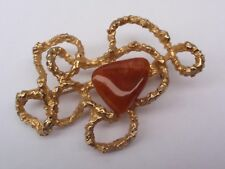 VINTAGE 1950-60 GOLD PLATED POLISHED AGATE PIN BROOCH