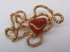 Polished Agate Pin Brooch Vintage 1950-60 Gold Plated