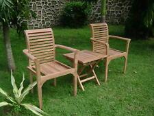 Teakholz Gartenmöbelset 3tlg, Farbe natur, Tisch mit zwei passenden Stühlen