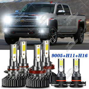 For Chevy Silverado 1500 2500 HD 2007- 2015 8000K LED Headlights +Fog Bulbs Kit