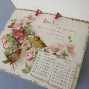 Antique 1897 6-Part Die-Cut Spiritual CALENDAR Chromos FLOWERS + Birds * Nister