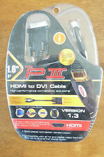 HDMI to DVI Cable   Gold Plated Connectors  1.8m for PS3   Version 1.3   BNIP