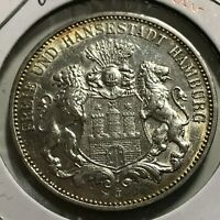 1911-J GERMANY HAMBURG SILVER 3 MARKS BRILLIANT UNCIRCULATED CROWN COIN