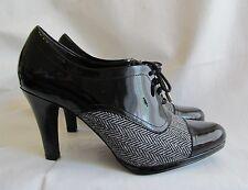 New Adorable & Stylish Chadwicks Tweed & Black Patent Leather Saddle Shoe Heels
