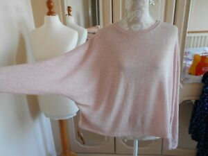 New Look dusty pink stretch slouchy knit batwing sleeve top size L UK 16/18 NEW
