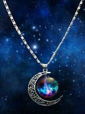 New Stylish Galaxy Universe Crescent Moon Round Pendant Necklace E