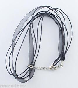 Lot de 1 à 100 tours de cou colliers cordons ruban organza NOIR coton ciré