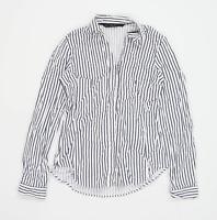 Zara Womens Size S Striped Cotton Blend White Shirt (Regular)