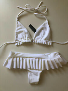 FABULOUS Paula Hermanny VIX white bikini x 2 piece ruffle pant BNWT size S