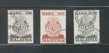 MALAYSIA 1990 REVENUE STAMPS (TIGERS CREST) RM $10, $50, $100 SET 3 STAMPS USED