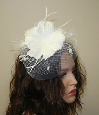 White Feather Fascinator with Birdcage Veil,  Wedding and Prom Accessories